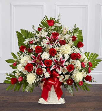 Heartfelt Tribute Red Rose  Lily Floor Basket Arrangement