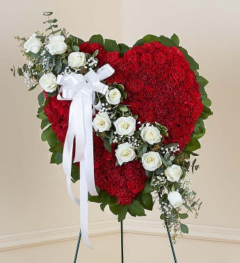 Always Remember Floral Heart Tribute - Red with White Roses