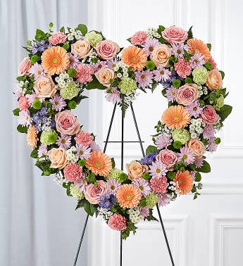 Always Remember Floral Heart Tribute- Pastel