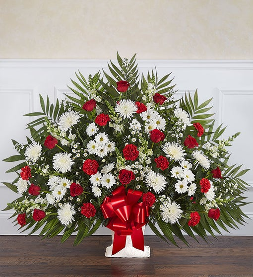 Heartfelt Tribute™ Red & White Floor Basket Arrangement