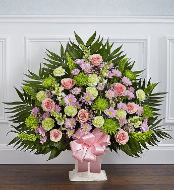 Heartfelt Tribute Floor Basket- Pastel