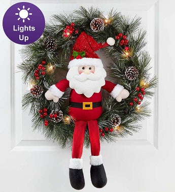 Keepsake Santa Wreath With LED Lights - 22