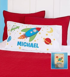 Personalized Rocket Ship Pillowcase & Nightlight