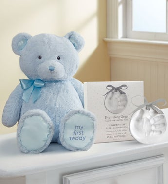 Blue My First Teddy by Gund with Hand Print Kit