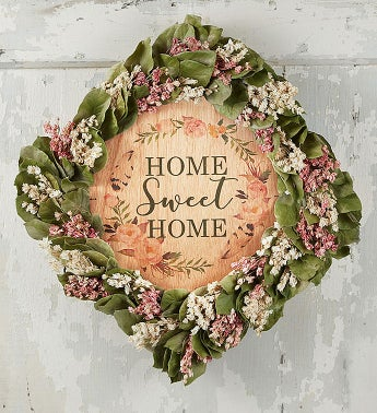 Home Sweet Home Preserved Floral Wreath With Plaque