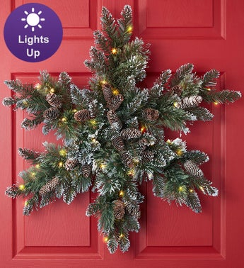 Glittery Bristle Pine Snowflake with LED 32