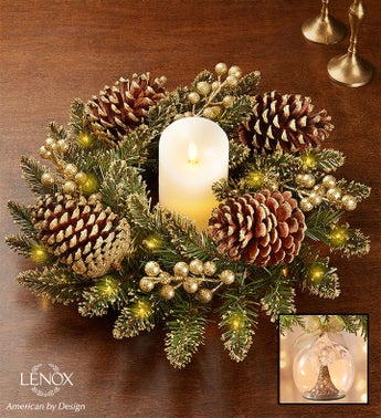 Glittery Gold Pine Centerpiece and Lenox Wonderball