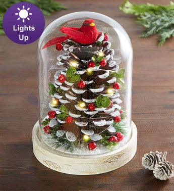 Kissing Krystals Light Up Pinecone Cloche