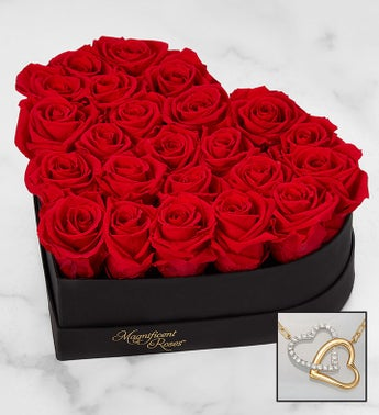 Magnificent Roses Preserved Red Heart with Necklace