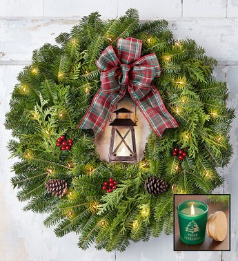 Rustic Lantern Wreath  Free Candle