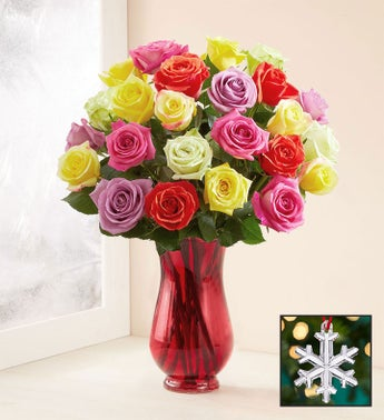 Assorted Christmas Roses with Waterford Snowflake Ornament