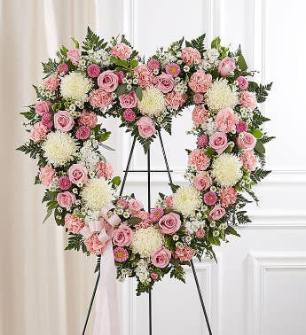 Always Remember Floral Heart Tribute- Pink