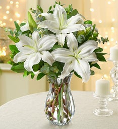 White Lily Bouquet + Free Clear Vase