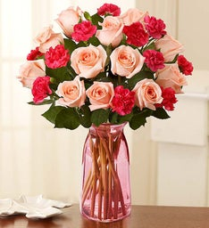 Fair Trade Pink Roses & Mini Carnations