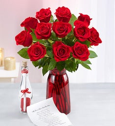 Message in a Bottle® with Red Roses, 12-24 Stems