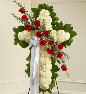 White Standing Cross with Red Rose Break