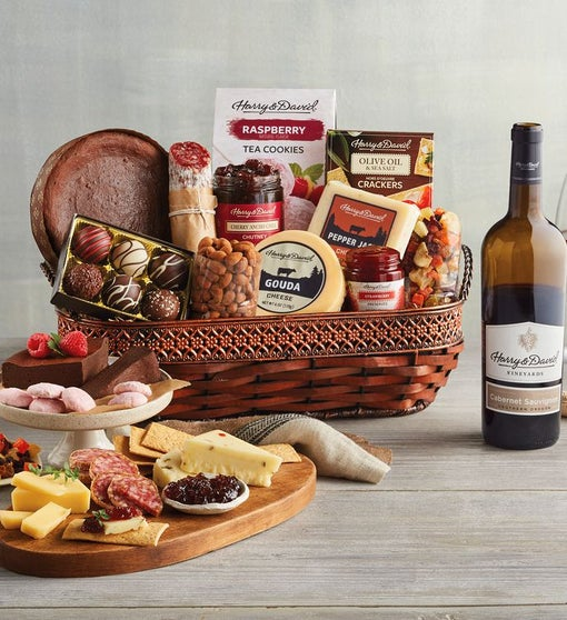 Gourmet Specialty Snacks Basket with Wine