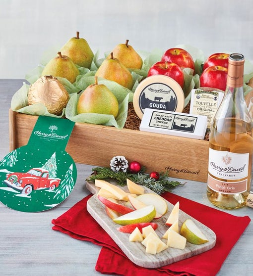 Holiday Pears, Apples, and Cheese Gift with Wine
