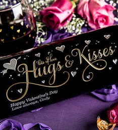 Hugs  Kisses Personalized Wine Bottle