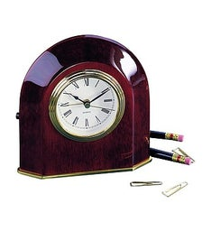 Engraved Wood Arch Clock in Piano Finish