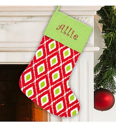 Embroidered Holiday Ikat Stocking