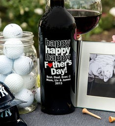 Personalized Triple Happy Fathers Day Heart Wine