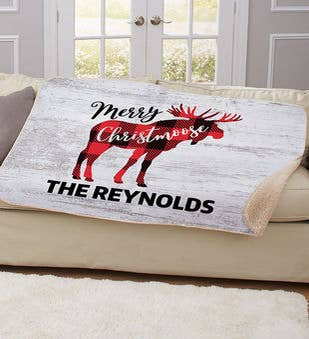 Personalized Merry Christmoose Blanket