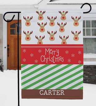 Personalized Christmas Reindeer Garden Flag