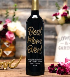 Best Mom Ever Personalized Wine Bottle