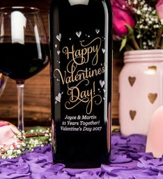 Joyful Valentines Day Personalized Wine Bottle