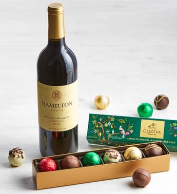 Godiva Ltd Ed Holiday Truffles Box & Cabernet Wine