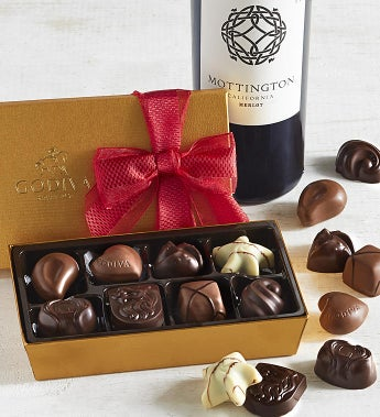 Godiva 8pc Gold Ballotin with Merlot Wine
