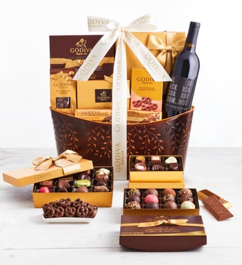 Exclusive Godiva Chocolates  Wine Basket