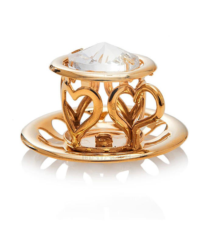 Gold Plated Tea Cup with Saucer Ornament