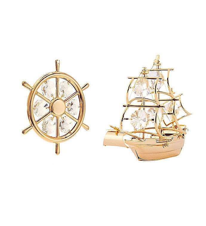 Gold Plated Ship Set Ornaments