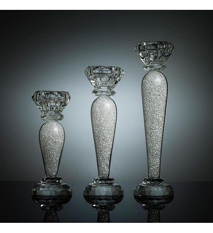 3 Piece Crystal Candlestick Set - 6 7  9