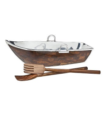 Boat Bowl with Salad Servers