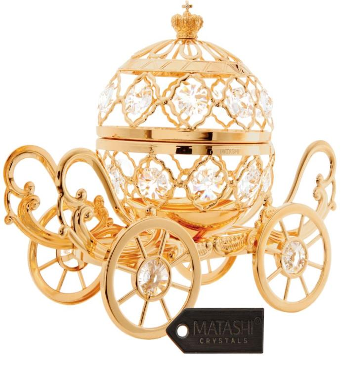 Gold Plated Crystal Studded Pumpkin Coach Ornament