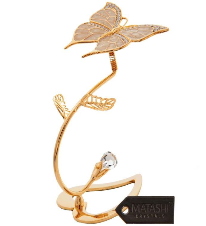 Gold Plated Crystal Butterfly On Stem Ornament