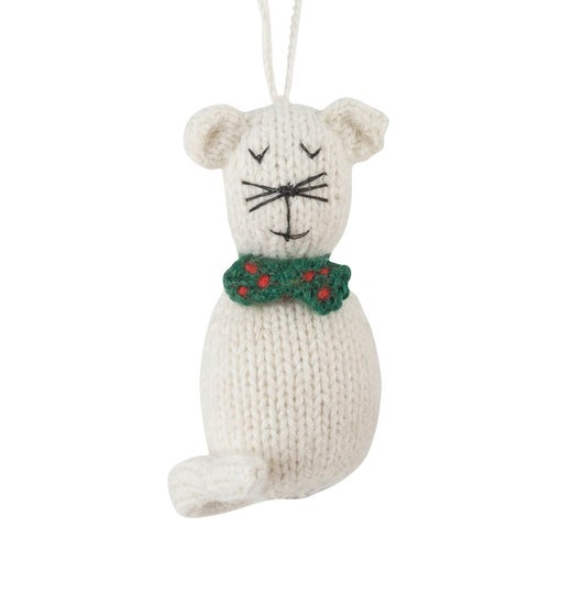 Hand Knit Alpaca Wool Christmas Ornament - Cats!