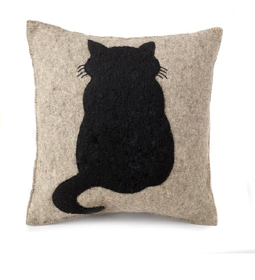 Handmade Cushion Cover in Hand Felted Wool - Cat on Gray - 20