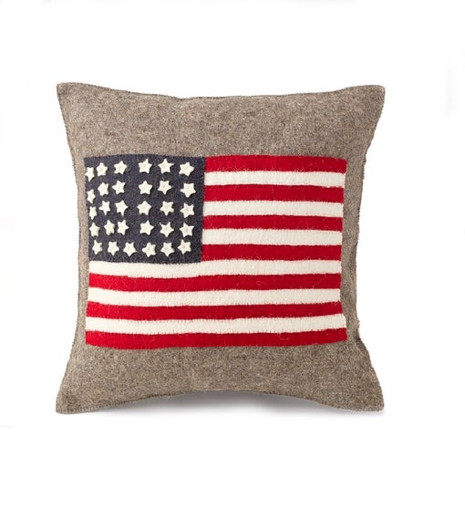 Handmade Cushion Cover in Hand Felted Wool - American Flag on Gray - 20""