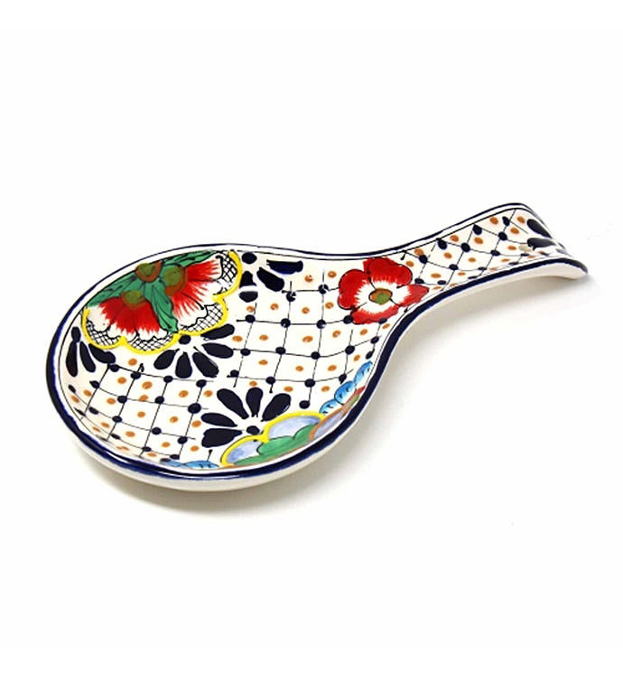 Global Crafts Encantada Handmade Pottery Spoon Rest Dots  Flowers