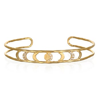 White Topaz Gold Moon Phase Cuff