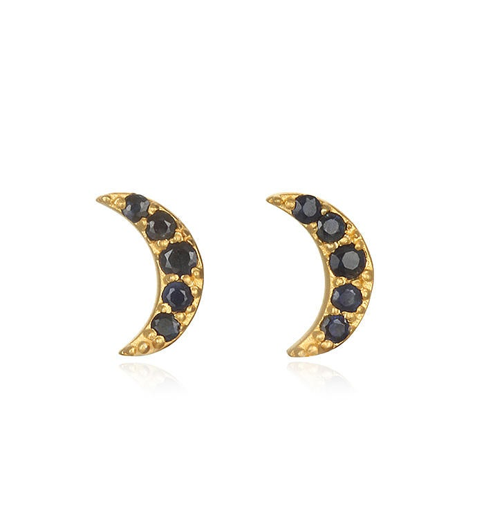 Blue Sapphire Gold Moon Stud Earrings