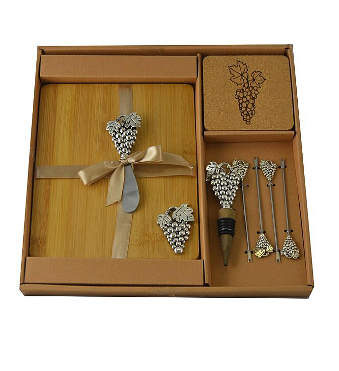 Wine  Cheese Set Silver Grapes