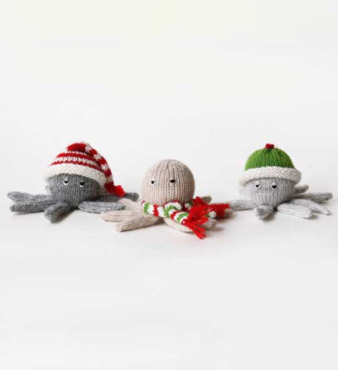 Octopus Ornaments in Christmas Hats and Scarves