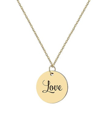 Love Engraved Stainless Steel Charm Necklace