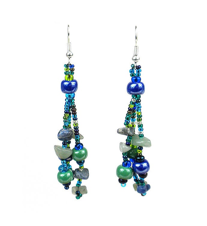 Guatemalan Beaded Beach Ball Earrings