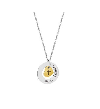 Matthew 11:28 Religious Bible Verse Necklace